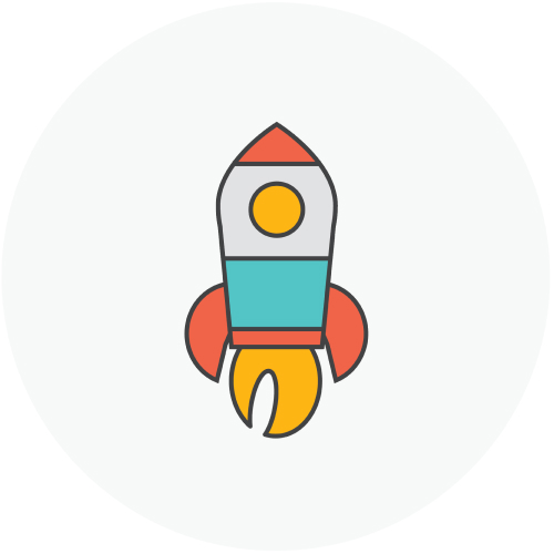 Rocket ship aiming upwards with fire coming out of it's tail