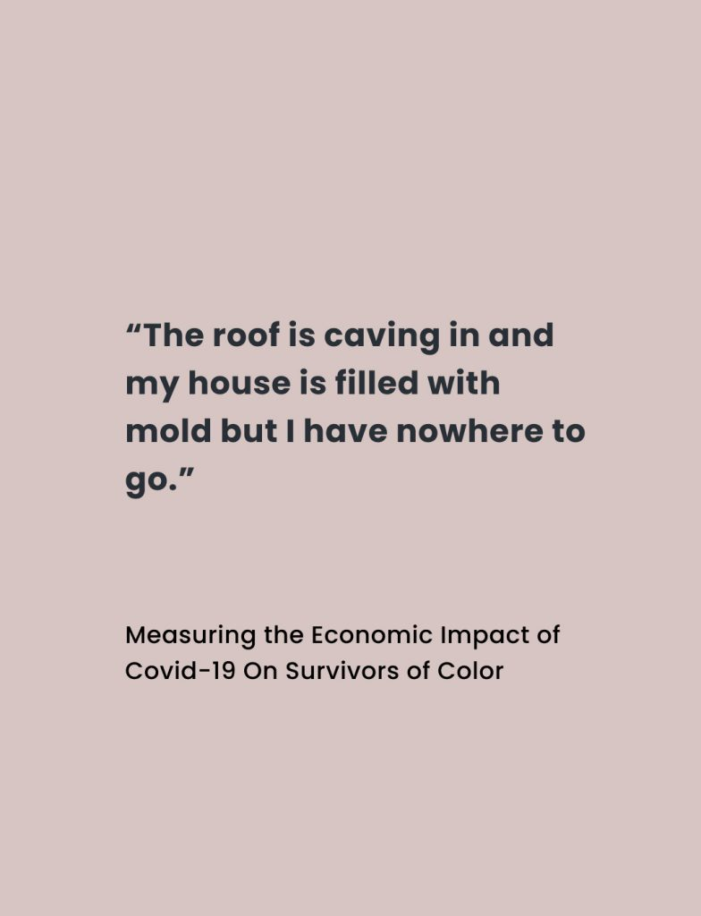 """Quote from Measuring the Economic Impact of COVID-19 on Survivors of Color report: """"The roof is caving in and my house is filled with mold but I have nowhere to go."""""""