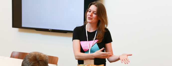 Amy Durrene, of the FreeFrom's Systems Change team, presenting at FreeFrom's 2019 Summit