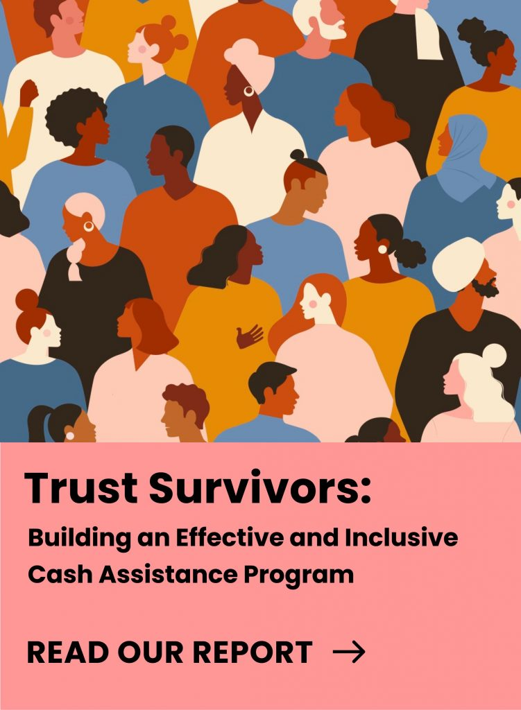 """Cover for the """"Trust Survivors: Building an Effective and Inclusive Cash Assistance Program"""" report. The cover also includes an illustration of a diverse group of people interacting with one another."""