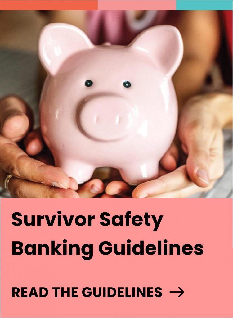 """Cover for the """"Survivor Safety Banking Guidelines."""" The cover also includes an image of two pair of hands holding a piggy bank."""